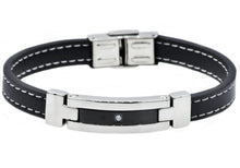 Load image into Gallery viewer, Mens Black Leather And Stainless Steel Bracelet With Cubic Zirconia - Blackjack Jewelry