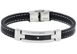 Mens Black Leather And Stainless Steel Bracelet With Cubic Zirconia