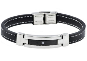 Mens Black Leather And Stainless Steel Bracelet With Cubic Zirconia - Blackjack Jewelry