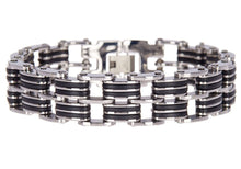 Load image into Gallery viewer, Mens Black Silicone And Stainless Steel Bracelet - Blackjack Jewelry