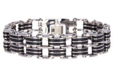 Mens Rubber Stainless Steel Bracelet