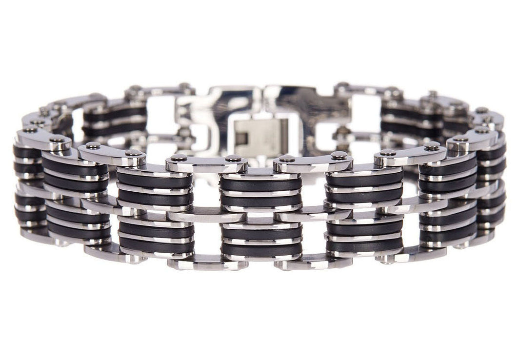 Mens Black Silicone And Stainless Steel Bracelet - Blackjack Jewelry