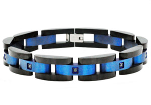 Mens Curved Link Black and Blue Plated Stainless Steel Bracelet With Cubic Zirconia - Blackjack Jewelry