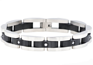 Mens Curved Link Two Tone Black Stainless Steel Bracelet With Cubic Zirconia - Blackjack Jewelry