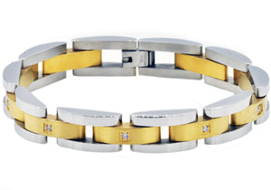 Mens Curved Link Two Tone Gold  Stainless Steel Bracelet With Cubic Zirconia - Blackjack Jewelry