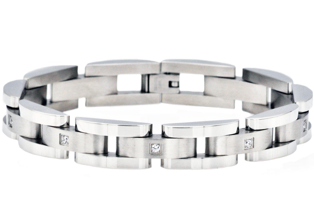 Mens Curved Link Stainless Steel Bracelet With Cubic Zirconia - Blackjack Jewelry