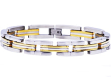 Load image into Gallery viewer, Mens  Two Tone Gold Plated Stainless Steel Bracelet - Blackjack Jewelry