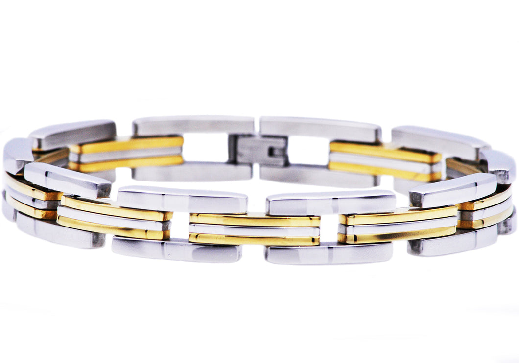 Mens  Two Tone Gold Plated Stainless Steel Bracelet - Blackjack Jewelry