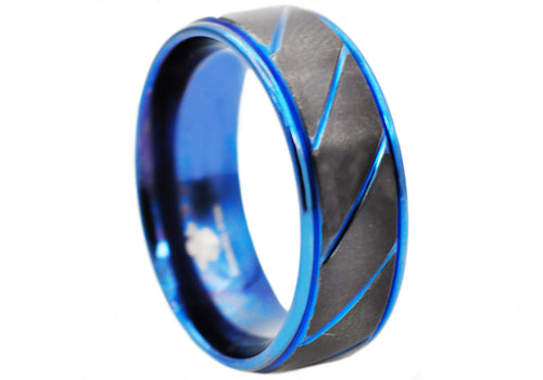 Mens Black And Blue Stainless Steel 8mm Etched Striped Ring - Blackjack Jewelry