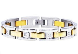 Mens Gold Stainless Steel Bracelet With Cubic Zirconia - Blackjack Jewelry