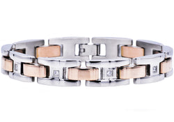 Mens Rose Plated Stainless Steel Bracelet With Cubic Zirconia