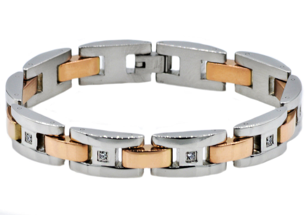 Mens Rose Gold Plated Stainless Steel Bracelet With Cubic Zirconia - Blackjack Jewelry