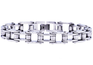 Mens Stainless Steel Bicycle Link Bracelet - Blackjack Jewelry