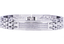 Load image into Gallery viewer, Mens Stainless Steel Bracelet With Cubic Zirconia - Blackjack Jewelry