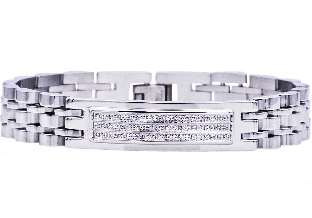 Mens Stainless Steel Bracelet With Cubic Zirconia - Blackjack Jewelry