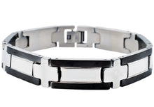 Load image into Gallery viewer, Mens Stainless Steel Bracelet With Black Plated Edges - Blackjack Jewelry