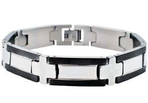 Mens Stainless Steel Bracelet With Black Plated Edges - Blackjack Jewelry