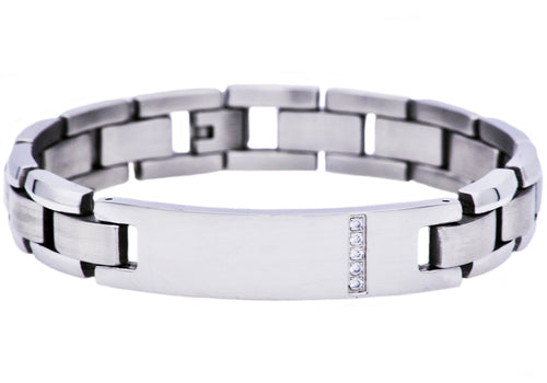 BlackJack Black Stainless Steel Two Tone Engravable ID Bracelet 8.5 inches Engraved Personalized with a Name or Initials CKLBJB10