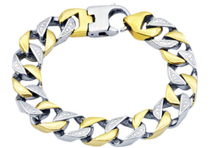 Mens Gold Plated Stainless Steel Pave Curb Link Chain Bracelet - Blackjack Jewelry