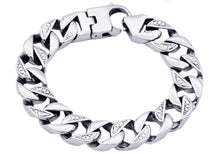 Load image into Gallery viewer, Mens Stainless Steel Pave Curb Link Chain Bracelet - Blackjack Jewelry
