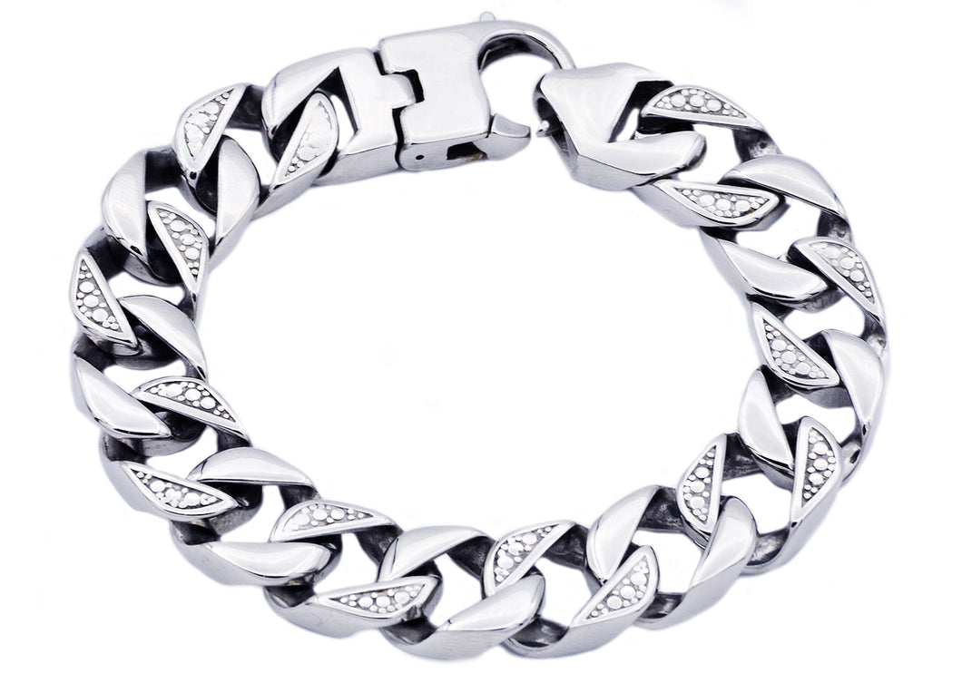 Mens Stainless Steel Pave Curb Link Chain Bracelet - Blackjack Jewelry