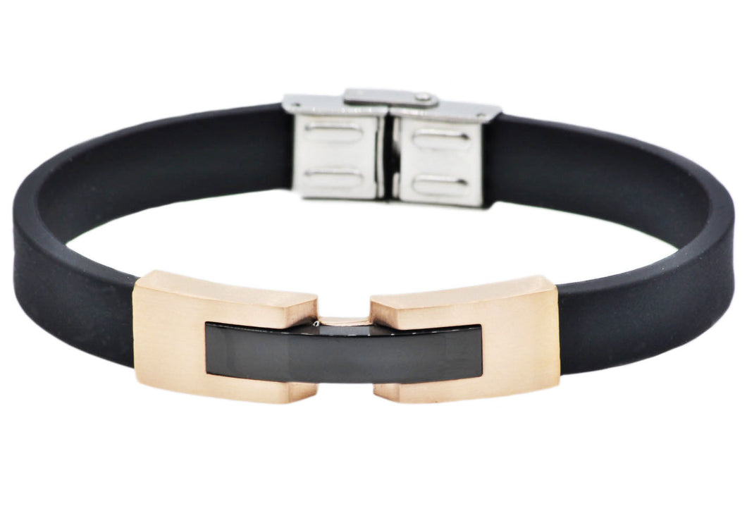 Mens Black Silicone and Rose Gold Plated Stainless Steel Bracelet - Blackjack Jewelry