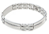 Mens Hammered Stainless Steel Bracelet