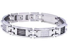 Load image into Gallery viewer, Mens Stainless Steel Wire And Cubic Zirconia Bracelet - Blackjack Jewelry