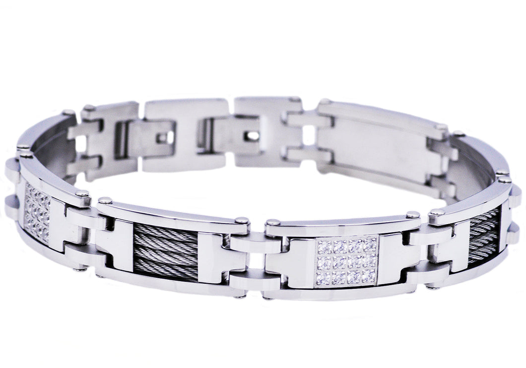 Mens Stainless Steel Wire And Cubic Zirconia Bracelet - Blackjack Jewelry