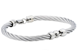 Mens Stainless Steel Wire Bangle Bracelet