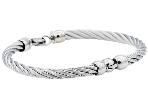 Mens Stainless Steel Wire Bangle Bracelet - Blackjack Jewelry