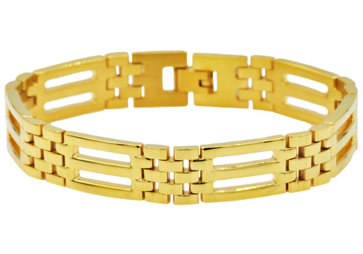 Mens Gold Plated Stainless Steel Bracelet