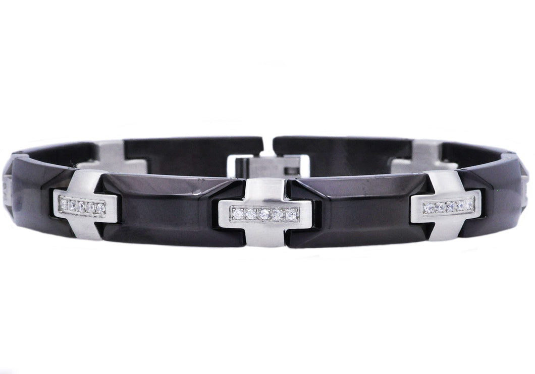 Mens Black Stainless Steel Bracelet With Cubic Zirconia - Blackjack Jewelry