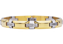Load image into Gallery viewer, Mens Gold Plated Stainless Steel Bracelet With Cubic Zirconia - Blackjack Jewelry
