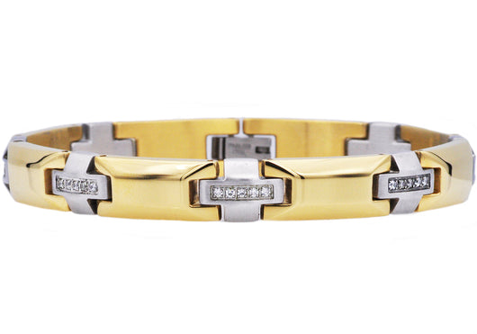 Mens Gold Plated Stainless Steel Bracelet With Cubic Zirconia - Blackjack Jewelry