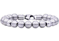 Mens Stainless Steel Beaded Bracelet
