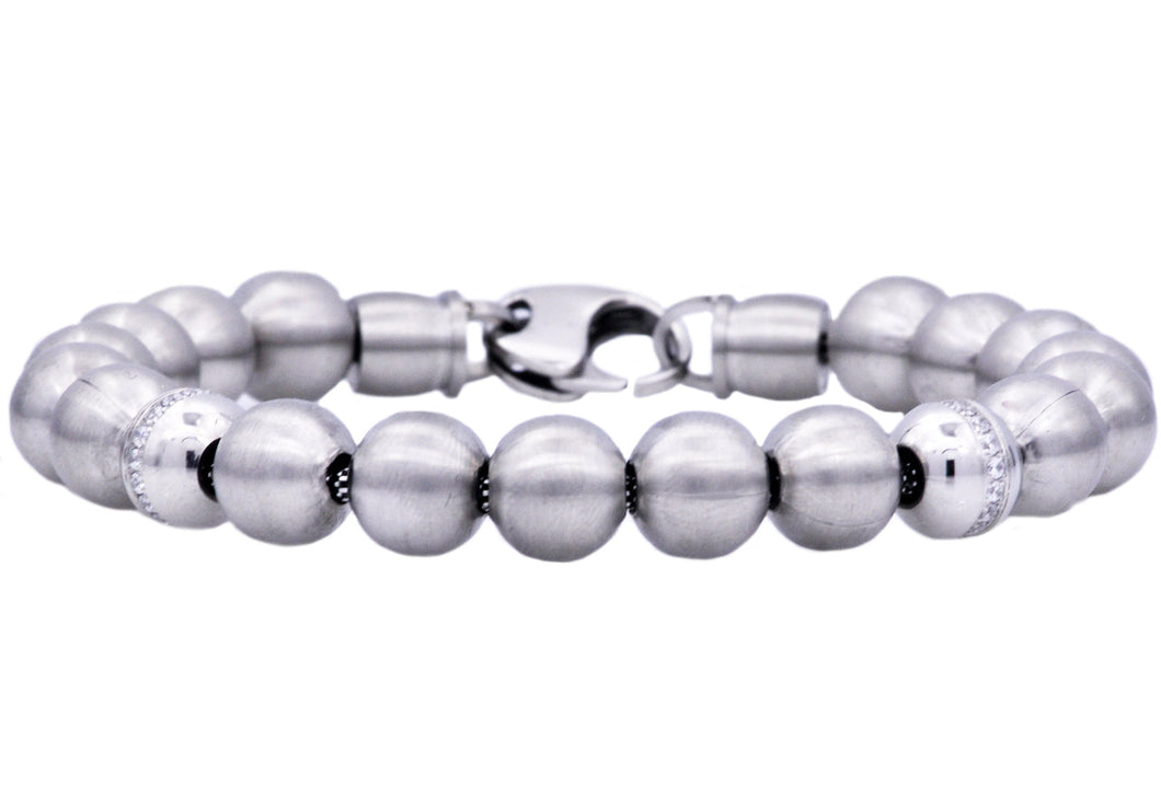 Mens Stainless Steel Beaded Bracelet With Cubic Zirconia - Blackjack Jewelry