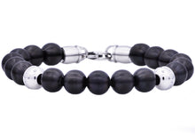 Load image into Gallery viewer, Mens Black Plated Stainless Steel Beaded Bracelet With Cubic Zirconia - Blackjack Jewelry