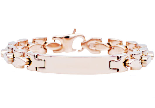 Mens Rose Plated Stainless Steel ID-Engraveable Bracelet
