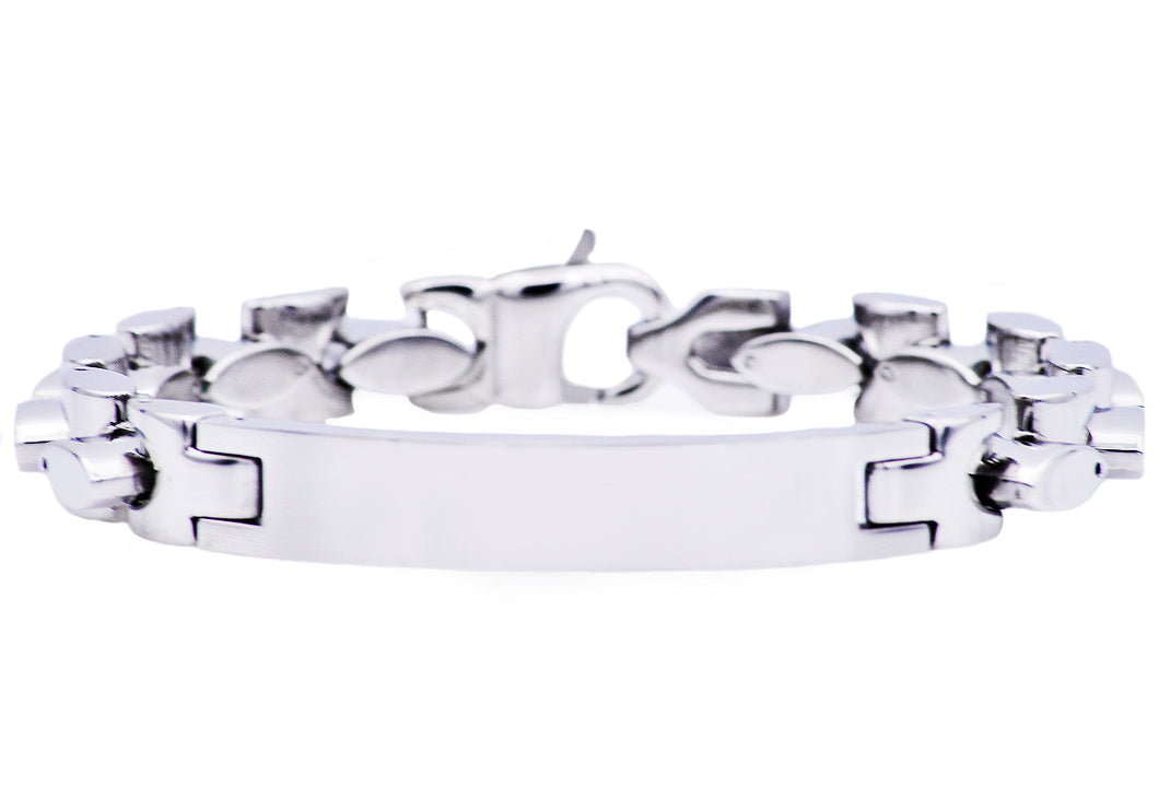 Mens Stainless Steel ID- Engraveable Bracelet - Blackjack Jewelry