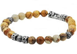 Mens Genuine Jasper Stainless Steel Beaded Bracelet - Blackjack Jewelry