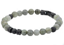 Load image into Gallery viewer, Mens Genuine Labradorite Stainless Steel Beaded Bracelet - Blackjack Jewelry