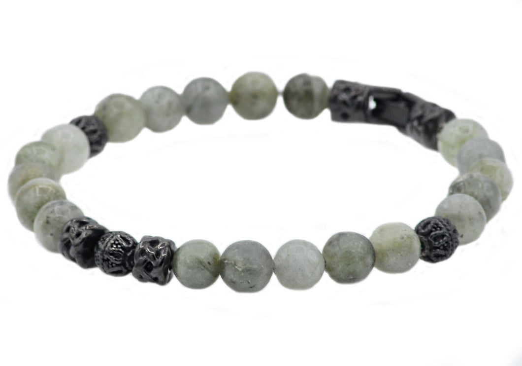 Mens Genuine Labradorite Stainless Steel Beaded Bracelet - Blackjack Jewelry