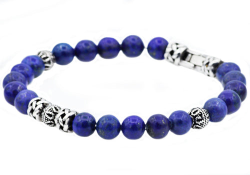 Mens Genuine Lapis Lazuli Stainless Steel Beaded Bracelet - Blackjack Jewelry