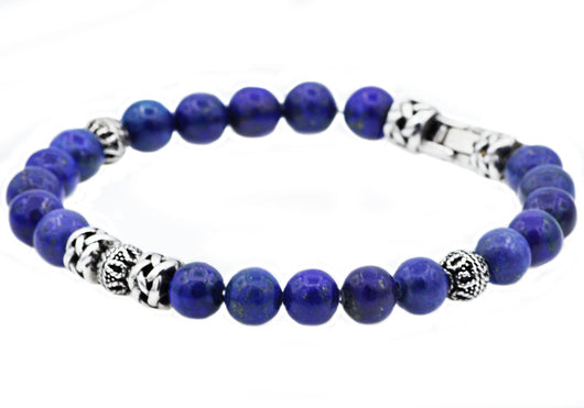 Mens Genuine Lapis Lazuli Stainless Steel Beaded Bracelet