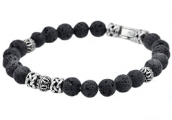 Mens Genuine Lava Stone Stainless Steel Bracelet - Blackjack Jewelry