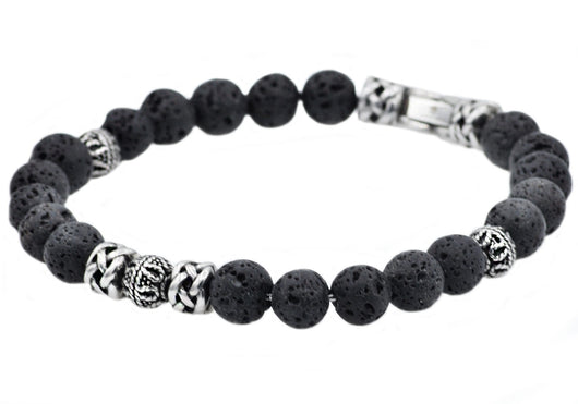 Mens Genuine Lava Stone Stainless Steel Bracelet
