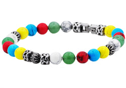Mens Stainless Steel Beaded Bracelet With Genuine Gemstones - Blackjack Jewelry
