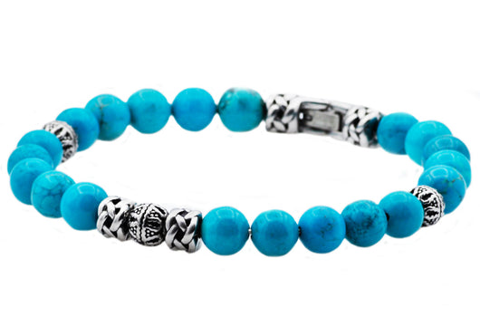 Mens Genuine Turquoise Satinless Steel Beaded Bracelet