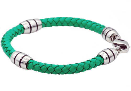 Mens Green Leather Stainless Steel Bracelet - Blackjack Jewelry